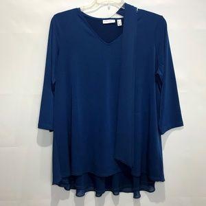 Susan Graver Sapphire Blue V-Neck Top